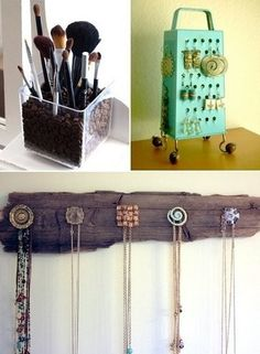 Coffee bean makeup brush holder, cheese shredder earring holder, old knobs as necklace display/holder