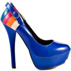 This sweet as candy pump will give you every color you desire.  Michael Antonio's Latana style boasts a simple blue patent upper with a 1 inch double stacked platform and 5 inch heel.  The multi color back and decorative buckle give an extra pop to this eye pleasing pump.