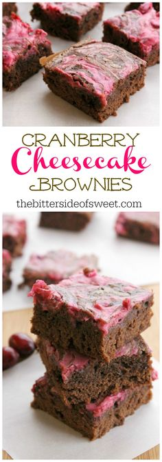 Cranberry Cheesecake Brownies | The Bitter Side of Sweet #CranberryWeek