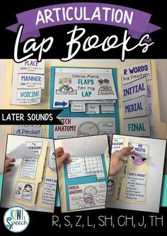 This lap book is a fun and practical way to teach and practice later speech sounds. This articulation interactive notebook is suitable for elementary students. Students will learn about the articulators, placement and voicing of their target sound, review goals, and can even track their progress. Speech therapy resource by Kiwi Speech. #flipbook #lapbook #interactivenotebook#speechtherapy #articulation #articulationactivity #slpsontpt
