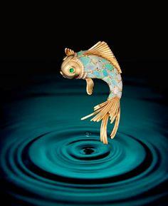 14K gold, opal body, emerald eyes, diamond detail fish brooch