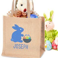 Personalised Easter Jute Bag for Boys