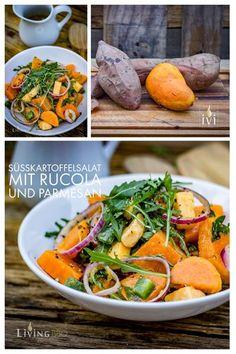 Sü�kartoffelsalat ist ein ganz ausgezeichnete Beilage zum Grillen. Das würzige Dressing und der leckere Cheddarkäse machen diesen Salat zu einer leckeren Salatbeilage. #Sü�kartoffelsalat #Sü�kartoffeln #Salat #Grillen #BBQ #Barbecue #Kartoffelsalat #Foodb Salad With Sweet Potato, Potato Salad, Roasted Eggplant Dip, Veggie Recipes, Healthy Recipes, Cheddar Cheese, Pot Roast, Quick Easy Meals, Side Dishes