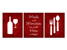 UNFRAMED PRINTS - LUSTER PHOTO PAPER    Set of 3 wall art prints with fork, spoon and knife, wine bottle and wine glass, completed with quote