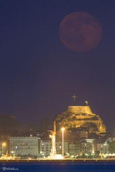Full Moon of Solstice above Old Fortress of Corfu Full Moon Today, Saharan Dust, Corfu, Old Things, Distance, Naked, Outdoor, Eye, Outdoors