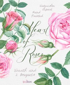 Watercolour Roses Wreath and Bouquets with Floral от ReachDreams