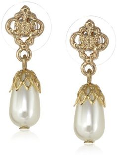 "Downton Abbey ""Carded"" Gold-Tone Pearl Drop Earrings: These elegant drop earrings feature pear-shape simulated pearls capped with vintage-inspired gold tone bails which hang from floral filigree posts. Presented on a Downton Abbey-themed card. Pearl Drop Earrings, Fashion Images, Downton Abbey, Jewelry Stores, Wedding Jewelry, Fashion Jewelry, Pearls, Stuff To Buy, Filigree"