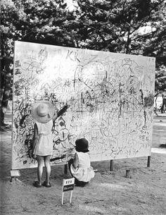 RUDY/GODINEZ: Yoshihara Jiro, Please Draw Freely (Installation... Osaka, Akira, Kyoto, Modern Art, Contemporary Art, New York Exhibitions, Art Curriculum, Art Festival, Community Art