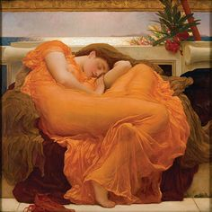 Beautiful fabric work! Lord Frederic Leighton, Flaming June, 1895