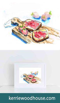 whimsical print | kitchen art | fruit print | watercolour | toast | red print | blue print | wall art