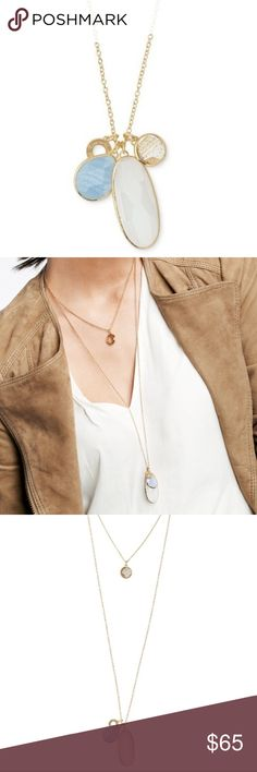 "Trinity Pendant by Stella & Dot Organic shapes of custom-faceted glass, white quartz, and blue lace agate stones are set in brass with gold plating. Wear pendants on the long chain, the short chain, or hanging from both tiers. Includes 30"" chain and gold 17"" chain with 3"" extender. Gold plating. Stella & Dot Jewelry Necklaces"