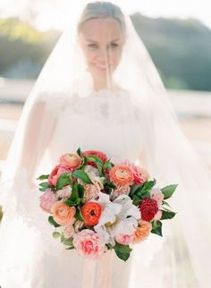 Romantic colorful wedding bouquet for spring