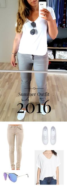 Summer Outfits 2016! A White T-Shirt with White Shoes and a pair of light colored Twill pants