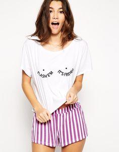 Image 1 of ASOS Flash 'em Its Friday Pajama Tee & Short Set
