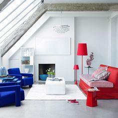Wohnideen Wohnzimmer-weiß rot blau-modern minimalistisch | H O M E ...
