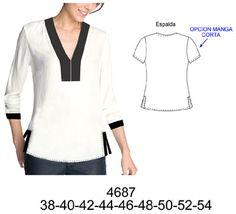 White and black top; Black detail v-neckline; Clothing Patterns, Sewing Patterns, Blouse And Skirt, Sewing Clothes, Refashion, Tunic Tops, Shirts, Clothes For Women, Womens Fashion