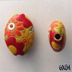 Orange Red And Yellow Flowers Pendant, Stoneware Almond Shaped Bead, Brightly Glazed Pendant Beads, Golem Design Studio by JasmineTeaDesigns on Etsy