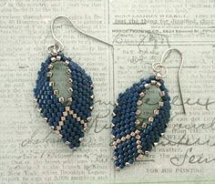 """8/0 seed beads Toho """"Nickel Plated"""" (711) 11/0 Miyuki Delica beads """"Nickel Plated"""" (DB21) 11/0 Miyuki Delica beads """"Opaque Dyed Navy"""" (DB2143) These earrings are accented with a simple silver """"V"""". Go"""