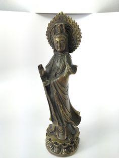 Antique Bronze Standing Guan Yin Statue