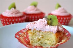 Kiwi Cupcakes with Easy Strawberry Cream Cheese Frosting