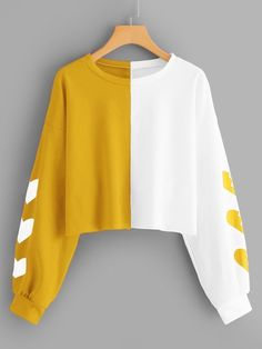 Shop Heart Print Sleeve Colorblock Sweatshirt at ROMWE, discover more fashion styles online. Girls Fashion Clothes, Teen Fashion Outfits, Mode Outfits, Grunge Outfits, Crop Top Outfits, Cute Casual Outfits, Stylish Outfits, Stylish Hoodies, Kawaii Clothes