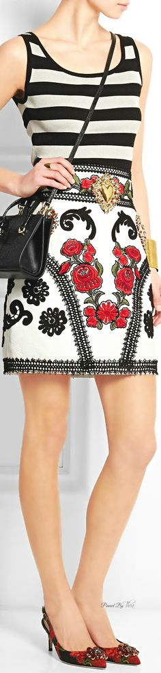Dolce & Gabbana ● Embroidered leather mini skirt ~ Tнεα