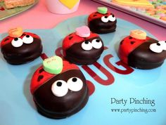 "♥LOVE BUGS♥... These Are Made With Mallomars...""The Marshmallow Chocolate Covered Cookies"" Dipped Halfway In Red Candy Melts, Candy Eyes By Wilton, Edible Markers (Found In Most Craft Shops) For The Black Hearts And of Course The ""Love Bug"" Candy Heart!...You Could Probably Also Use Chocolate Dipped Oreo Cookies..."