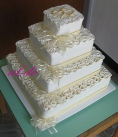 Square Wedding Cake by aldoska on Cake Central