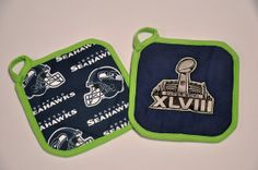 seattle seahawks superbowl pot holder set by JoannaStanek1, $20.00