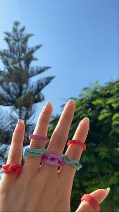 Funky Jewelry, Cute Jewelry, Diy Jewelry, Handmade Jewelry, Jewelry Making, Homemade Jewellery, Diy Rings, Cute Rings, Pretty Rings