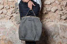 Dark Grey Leather Tote Bag / Cross Body Office Bag / Gray Shoulder Bag / Women Oversize Evening Purse / Every Day Bag / Hand Bag - Magnolia