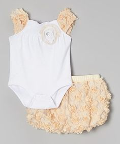 Another great find on #zulily! Beige & White Bodysuit & Rosette Diaper Cover - Infant by Nannette Baby #zulilyfinds