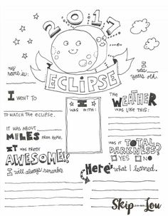 2017 Solar Eclipse Coloring page also known as an Eclipse Graphic Organizer makes a cute way to record this very special event. MichaelsMakers Skip To My Lou Science For Kids, Science Activities, Science Projects, Activities For Kids, Science Fun, Teaching Science, Solar Eclipse Activity, Coloring Pages Inspirational, 4th Grade Science