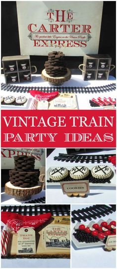 This vintage train birthday party is so cool! See more party ideas at CatchMyParty.com!