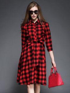 Shop Red Plaid Print Tie Waist Shirt Collar Dress from choies.com .Free shipping Worldwide.$29.69