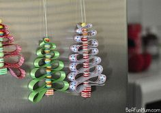 Ribbon and bead Christmas tree ornaments. This is totally about technique, and it's sew, sew easy (sorry, couldn't help myself!). Any pretty ribbon, cut into any length (pictured trees are roughly 15-18 inches total) and any colored beads can be used to create these pretty ornaments. Or the ribbon trees can serve double duty as ornament and gift decoration (instead of bows). Or place on plates, add a name tag tree topper, and they can serve as place cards and party favors.