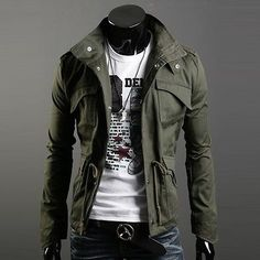 Mens-Casual-Short-Coat-Parka-Jacket-Trench-Outwear-Military-Windbreaker-Overcoat