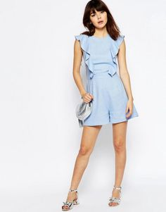 Buy ASOS Occasion Ruffle Detail Playsuit at ASOS. With free delivery and return options (Ts&Cs apply), online shopping has never been so easy. Get the latest trends with ASOS now. Frock And Frill, Asos, Sunday Clothes, Off Shoulder Shirt, Lauren Conrad, Playsuit, Outfit Of The Day, Fashion Online, Short Dresses