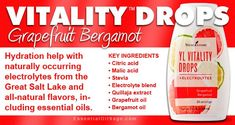 YL Vitality Drops - Grapefruit Bergamot Make your water taste great with electrolytes and oils! Young Living Vitality, Natural Electrolytes, Young Living Oils, Citric Acid, Key Ingredient, Bergamot, Natural Flavors, Stevia