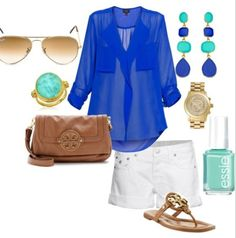 blue blouse with soft green / teal accents