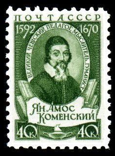 """Juan AmósComenio(1592-1670) fué un filósofo, teólogo y pedagogo checo. Es conocido en el ámbito de la pedagogía como """"Padre de la educación moderna"""". Contemporáneo de Galileo y Descartes, desarro… Europe, Soviet Union, Postage Stamps, Baseball Cards, My Favorite Things, Virginia Woolf, Portraits, Club, Google Search"""