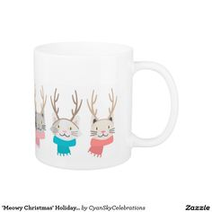 'Meowy Christmas' Holiday Cats In Antlers Gift Coffee Mug @zazzle