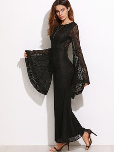 Black Oversized Bell Sleeve Floral Lace Dress | MakeMeChic.COM