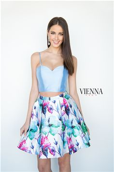 Vienna Prom 6111 Blue Floral Two Piece Short Dress Best Prom Dresses, Homecoming Dresses, Short Dresses, Two Piece Short Dress, Floral Two Piece, Formal Wear, Vienna, Pageant