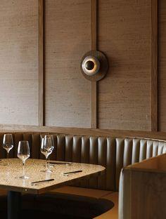 Love the wall lighting! // Viet Next Door: Vietnamese Tapas Bar in Adelaide by Genesin Studio Banquet Seating, Booth Seating, Bar Seating, Corner Seating, Bar Design, Design Studio, Cafe Restaurant, Restaurant Design, Restaurant Interiors