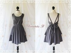 A Party - V Shape Style - Prom Party Cocktail Bridesmaid Dinner Wedding Night Dress Dark Charcoal Gray Sweet Gorgeous Glamorous Dress