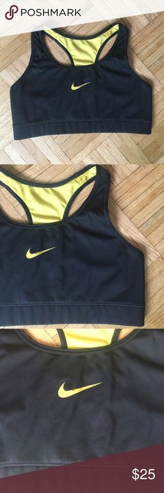 ✨ LiveStrong Reversible Sports Bra from Nike Pre Loved Nike livestrong sports bra. Black and yellow, also reversible.. photos show all ware on product ✨ any questions, just ask ☺️ Nike Tops