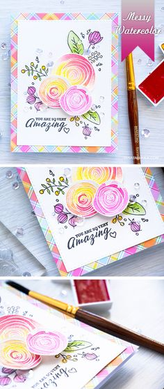 Messy watercolor is always fun! Create a floral card using Sketch Ranunculus stamps and watercolor paints.