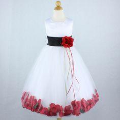 WHITE BLACK RED Flower Girl Dress Gown Petals Wedding Formal Recital Birthday