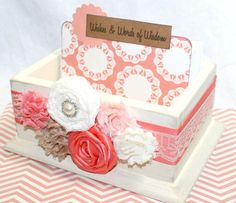 Coral and Ivory Guest Book Guest Book Box Baby Shower by itsmyday